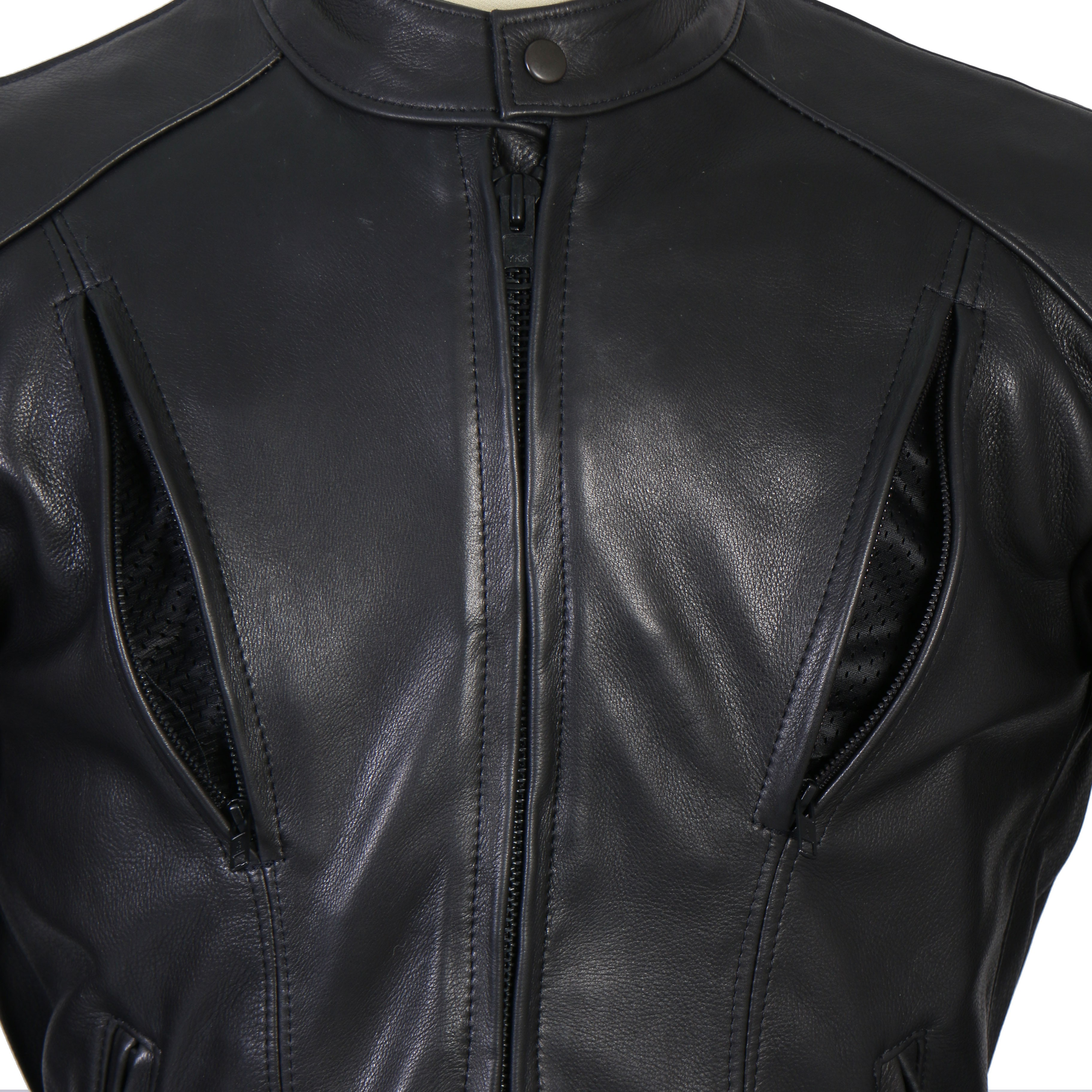 63f9b2e46b53 Men s Vented Leather Biker Jacket with Side Lace