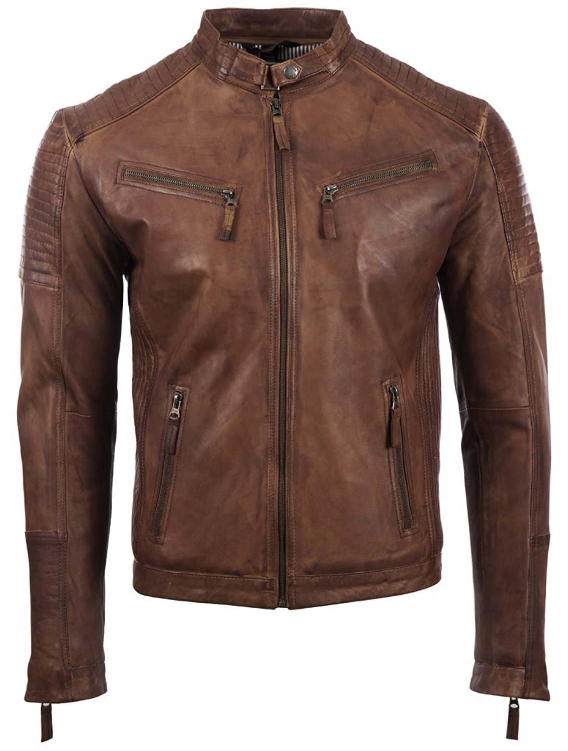 Mens Vintage Leather Fitted Biker Jacket 1.jpg