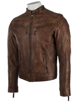 Mens Vintage Leather Fitted Biker Jacket 2.jpg