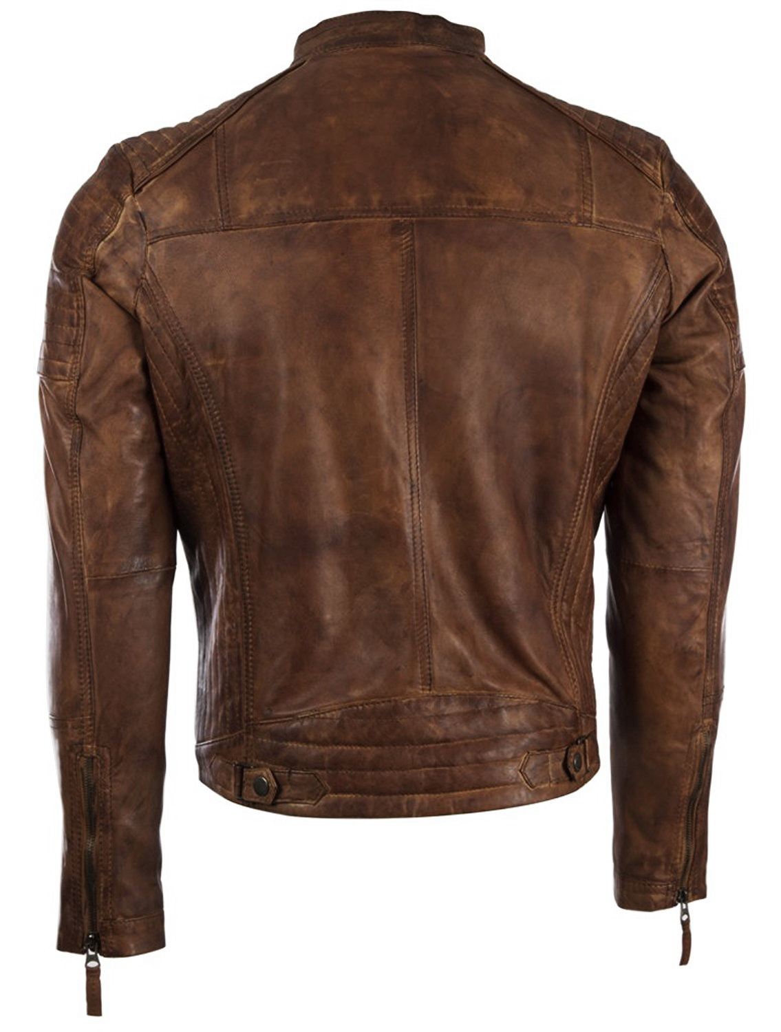 Mens Vintage Leather Fitted Biker Jacket 3.jpg