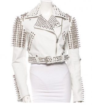 Womens Silver Tone Studded White Leather Biker Jackets 1.jpg