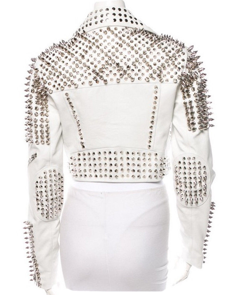 Womens Silver Tone Studded White Leather Biker Jackets 2.jpg